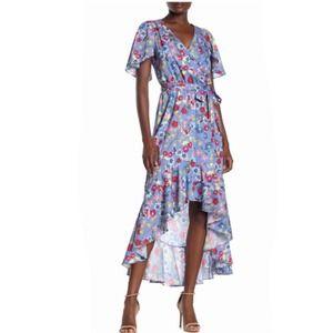Parker Floral Maxi Dress High Low Flutter Sleeve